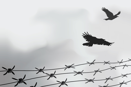Fence made of wire with spikes and birds illustration.