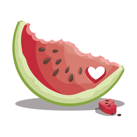 Cartoon piece of watermelon. Slice of watermelon. Sweet and juicy fruit. Fresh summer vitamins.