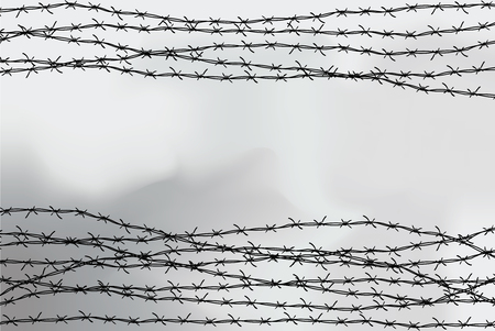 Barbed wire fencing in Black and white illustration
