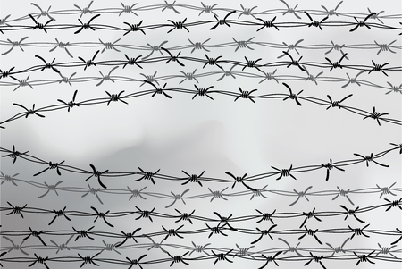 Barbed wire fencing. Fence made of wire with spikes. Black and white illustration to the holocaust.