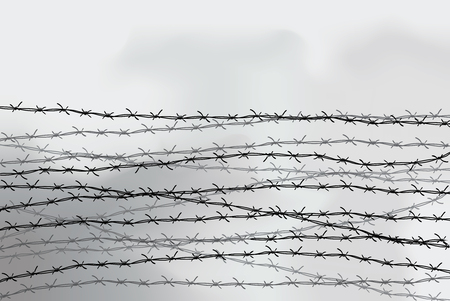 Barbed wire fencing. Fence made of wire with spikes. Black and white illustration to the holocaust. Console camp.