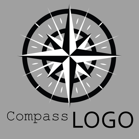 Black and white compass logo. Vector icon. Rose of Wind. 矢量图像
