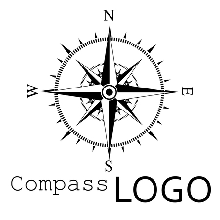 Black and white compass logo. Vector icon. Rose of Wind. Ilustração