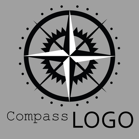 Black and white compass logo. Vector icon. Rose of Wind. Illustration