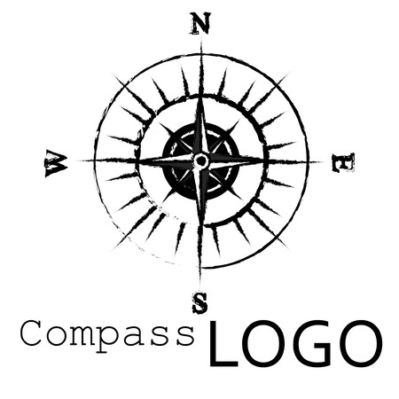 Black and white compass logo. Rose of Wind.