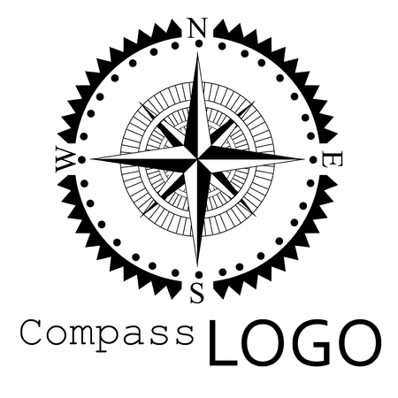 Black and white compass logo. Vector icon. Rose of Wind. Banco de Imagens