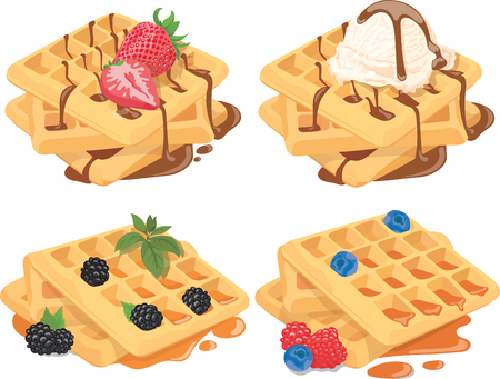 Collection of Belgian waffles with fruit fillings. A set of sweet pastries with cream and fruits. Menu of sweets for fast food. Illustration for children.