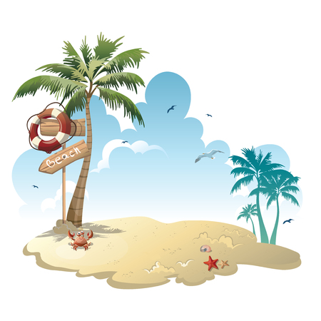 Cartoon island with luggage in the sea. Illustration for a travel company. Summer vacation at the sea. Illustration of a sandy wild tropical beach with palm trees and luggage. Vacation. Illustration