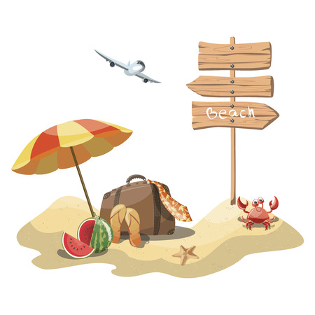 Cartoon island in the sea with a chaise longue and surfboard. Illustration for a travel company. Summer vacation at the sea. Illustration of a sandy beach with an umbrella. Vacation. Drawing for child Illustration