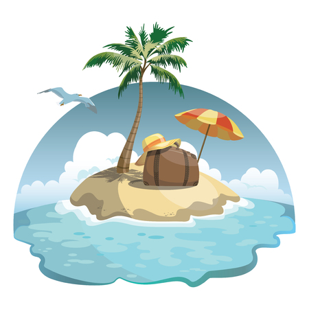 Cartoon island in the sea with luggage. Illustration for a travel company. Summer vacation at the sea. Illustration of a sandy beach with an umbrella. Vacation. Drawing for children.
