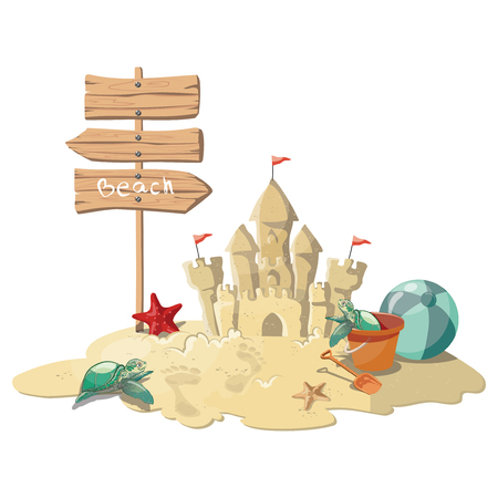 Cartoon island with a sandy house. Illustration for a travel company. Summer vacation at the sea. Illustration of a sandy wild beach with palm trees and luggage. Vacation. Drawing for children.