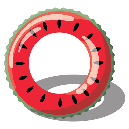 Cartoon inflatable circle for swimming. Illustration of an inflatable circle in the form of a watermelon for the pool. A drawing on a white background for children. Ilustração