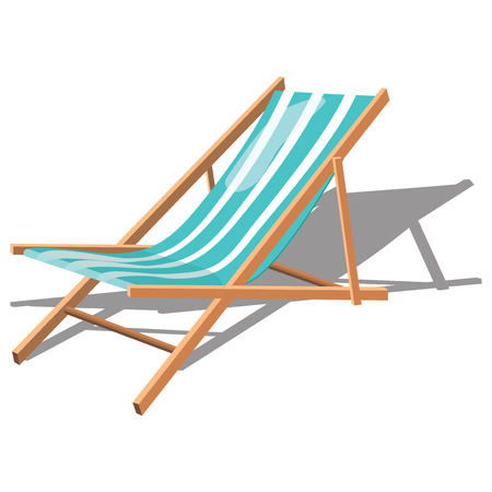 Cartoon chaise longue for the beach. Illustration of a rollaway bed. Illustration on white background. Drawing for children. Illustration