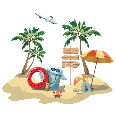 Cartoon island in the sea with luggage. Illustration for a travel company. Summer vacation at the sea. Illustration of a sandy wild beach with palm trees. Vacation.
