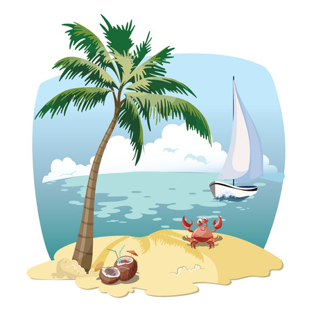 Cartoon island in the sea with a yacht. Illustration for a travel company. Summer vacation at the sea. Illustration of a sandy wild beach with palm trees. Vacation.