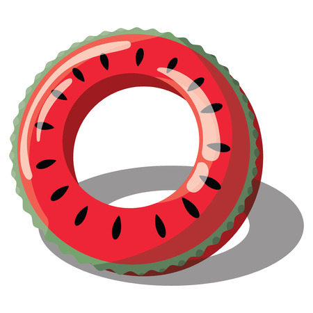 Cartoon inflatable circle for swimming. Illustration of an inflatable circle in the form of a watermelon for the pool. A drawing on a white background for children. Vector art. Ilustração