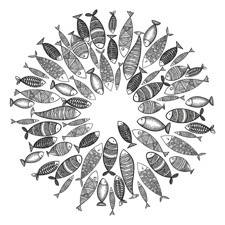 School of fish. A group of stylized fish swimming in a circle. Black and white fish for children with ornaments. Marine life. Vector illustration. Tattoo. Logo fishes. Vettoriali