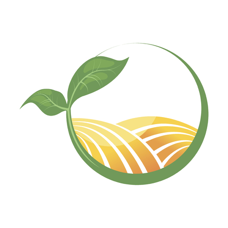 Logotype of agriculture. Logo with a field of wheat. Stylized eco logo. Green energy fields. Vector illustration. Archivio Fotografico - 102772475