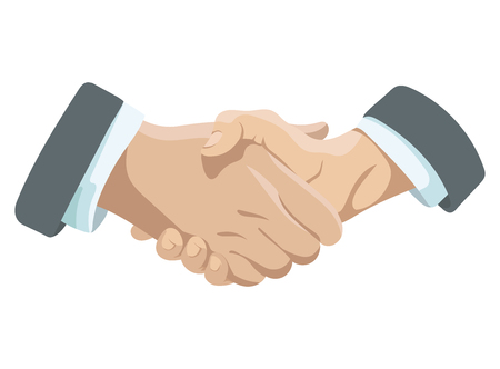 Business handshake. Affiliate handshake. Shaking hands of men. Vector illustration for business on white background. Partnership in work. Symbol of successful negotiations.