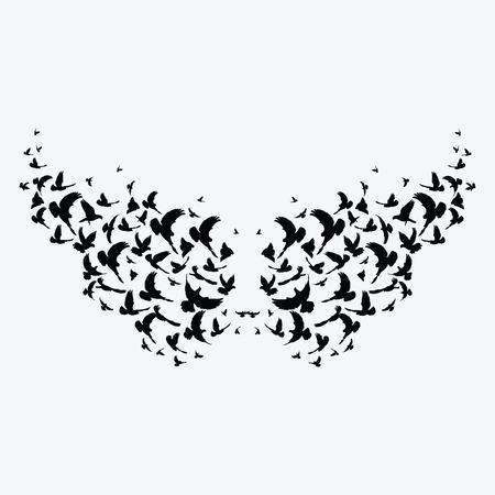 Silhouet van een zwerm vogels. Zwarte contouren van vliegende vogels. Vliegende duiven. Tatoeëren.