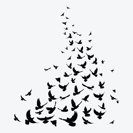 Silhouette of a flock of birds. Black contours of flying birds. Flying pigeons. Tattoo. Ilustração
