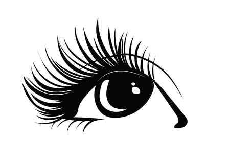 Logo of eyelashes. Stylized hair. Abstract lines of triangular shape. Black and white vector illustration. Stockfoto