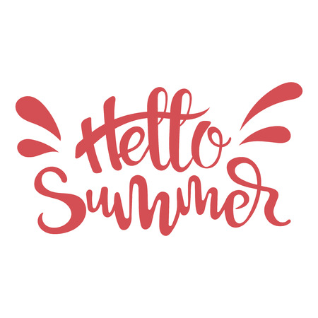 Inscription Hello Summer. Print with text Summer time. Vector illustration of lettering. 일러스트