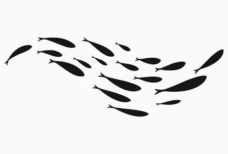 Silhouetten van groepen zeevissen. Kolonie van kleine vissen. Pictogram met rivierbelasting. Gestileerd logo. Zwart-wit tekening van scholen vis.