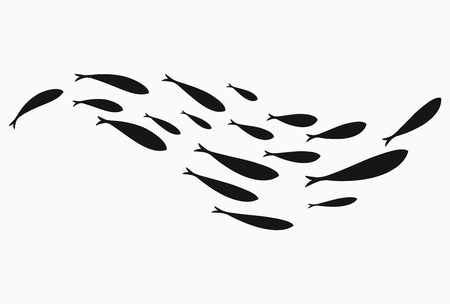 Silhouettes of groups of sea fishes. Colony of small fish. Icon with river taxers. Stylized logo. Black and white drawing of schools of fish. 版權商用圖片 - 103780846
