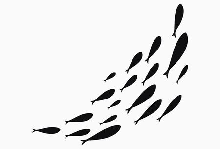 Silhouettes of groups of sea fishes. Colony of small fish. Icon with river taxers. Stylized logo. Black and white drawing of schools of fish.