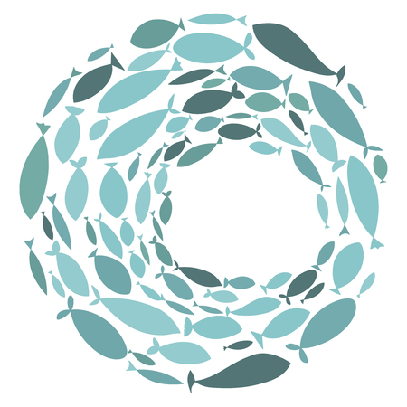 Colored silhouettes school of fish. A group of silhouette fish swim in a circle. Marine life. Vector illustration. Logo fishes. Vettoriali
