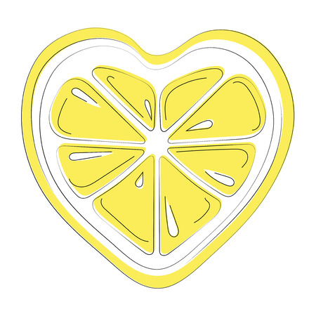 Logo of lemon in the form of heart. Stylized slice of lemon for logo. Picture of fresh citrus. Illustration