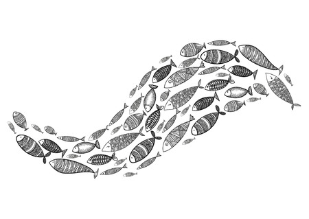 School of fish. Stylized group of stylized fishes swimming in the pack. Decorative aquarium fish with patterns.