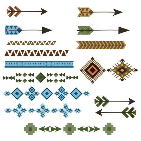Vector set of Indian ornaments and arrows. Collection of Indian decorative patterns. Graphic art. America.