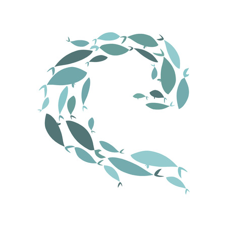 Colored silhouettes of groups of sea fishes. Colony of small fish. Icon with river taxers. Logo fish.