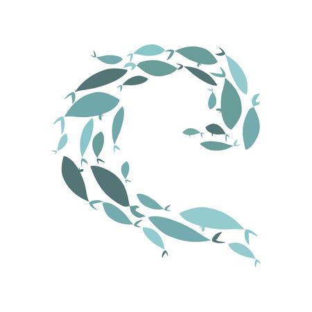 Gekleurde silhouetten van groepen zeevissen. Kolonie van kleine vissen. Pictogram met rivierbelastingheffers. Logo vis.