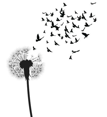 Silhouette eines Löwenzahns mit fliegenden Samen. Schwarze Kontur eines Löwenzahns. Schwarzweiss-Illustration einer Blume. Sommerpflanze. Tätowierung.