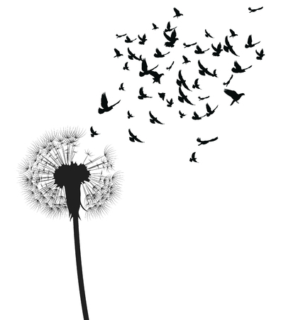Silhouette of a dandelion with flying seeds. Black contour of a dandelion. Black and white illustration of a flower. Summer plant. Tattoo.