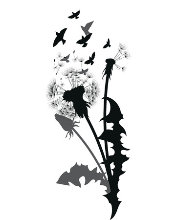Silhouette of a dandelion with flying seeds. Black contour of a dandelion. Black and white illustration of a flower. Summer plant. Tattoo. 일러스트
