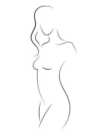Weibliche Figur. Umriss des jungen Mädchens. Stilisierter schlanker Körper. Lineare Kunst. Schwarzweiss-Vektorillustration. Kontur einer schlanken Figur.