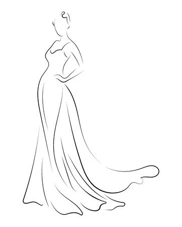 Dziewczyna w sukience. Liniowe zarysy postaci kobiecej w sukience. Sylwetka modelu w ubraniach. Sztuka liniowa szczupłej kobiety. Czarno-biała ilustracja do salonów krawieckich. Modelka Ilustracje wektorowe