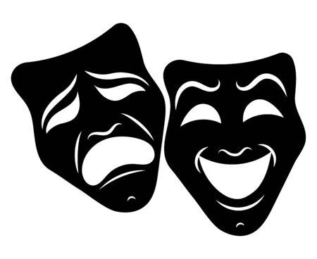 Máscaras de teatro. Drama y comedia. Ilustración para el teatro. Máscara de tragedia y comedia. Ilustración en blanco y negro. Tatuaje.