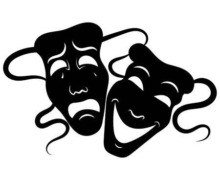 Máscaras de teatro. Drama y comedia. Ilustración para el teatro. Máscara de tragedia y comedia. Ilustración en blanco y negro. Tatuaje. Ilustración de vector