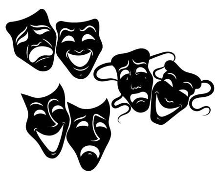 Tragedy and comedy theater masks set. Collection of theater masks. Black and white illustration of carnival masks. Tattoo. Фото со стока - 129541693