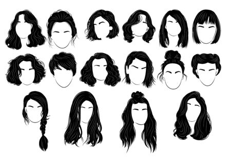 Set of hairstyles for women. Collection of black silhouettes of hairstyles for girls. Fashionable hairstyles.