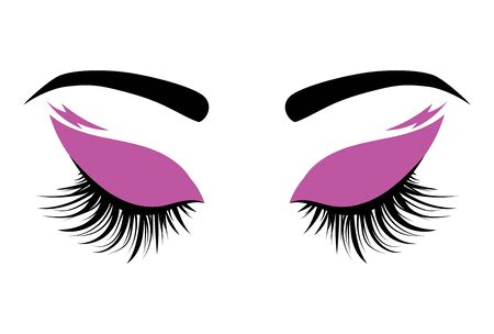 Logo eyelashes. The eyes of the girl with makeup. Vector illustration of eyebrows and eyelashes. Figure for a beauty salon.