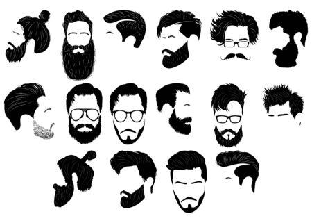 Conjunto de peinados para hombres. Colección de siluetas negras de peinados y barbas.