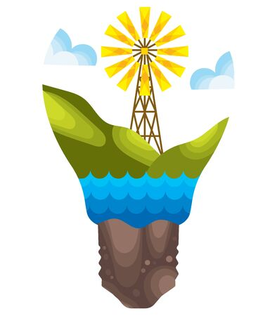 Eco energy. Illustration of green energy. Protection of nature from harmful emissions. Cartoon drawing for children.