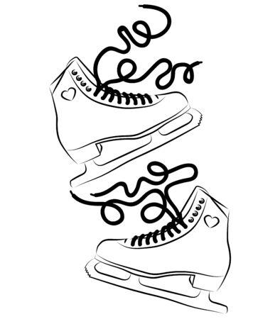 Zapatos para patinaje artístico. Ilustración en blanco y negro de patines de hielo. Deporte de invierno. Arte lineal. Tatuaje.