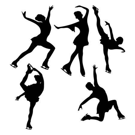 Satz Eiskunstlauf. Sammlung von Mädchen-Eiskunstlauf. Schwarze weiße Abbildung. Wintersport. Eislaufen. Vektorgrafik